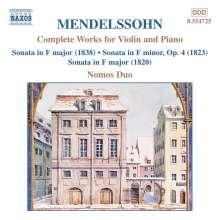 Felix Mendelssohn Bartholdy (1809-1847): Sämtliche Werke für Violine & Klavier, CD