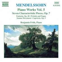 Felix Mendelssohn Bartholdy (1809-1847): Klavierwerke Vol.5, CD