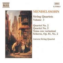 Felix Mendelssohn Bartholdy (1809-1847): Streichquartette Nr.2 & 5, CD