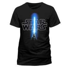 Star Wars: Logo & Saber (T-Shirt,Schwarz,Größe S), T-Shirt