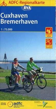 ADFC-Regionalkarte Cuxhaven Bremerhaven mit Tagestouren-Vorschlägen, 1:75.000, reiß- und wetterfest, GPS-Tracks Download, Diverse