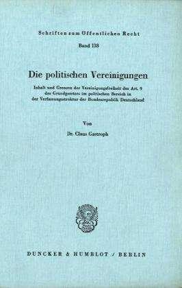 Die Politischen Vereinigungen Claus Gastroph Buch Jpc
