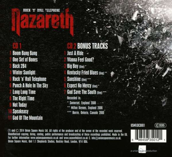 Nazareth Rock N Roll Telephone Deluxe Edition 2 Cds Jpc
