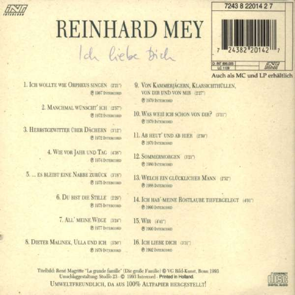 Reinhard Mey: Ich liebe Dich, CD (Rückseite)