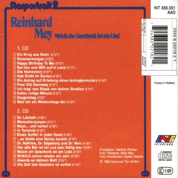 Reinhard Mey: Starportrait 2: Welch ein Geschenk ist ein Lied, 2 CDs (Rückseite)