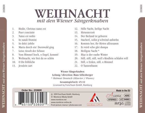 wiener s ngerknaben weihnacht cd jpc. Black Bedroom Furniture Sets. Home Design Ideas