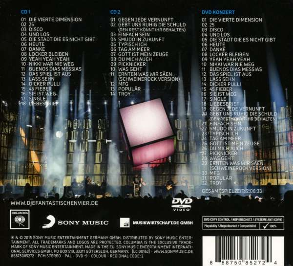 Die Fantastischen Vier: Rekord: Live in Wien 2015 (2 CD + DVD), 2 CDs (Rückseite)