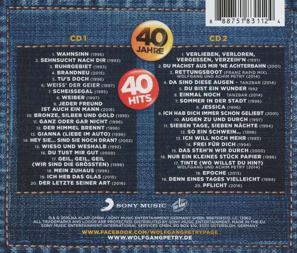 Wolfgang Petry 40 Jahre 40 Hits 2 Cds Jpc
